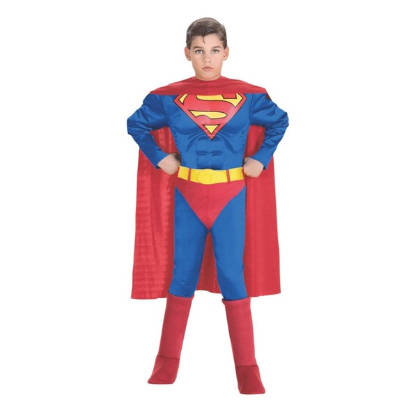 New Boys Deluxe Superman Costume w/ Muscle Chest